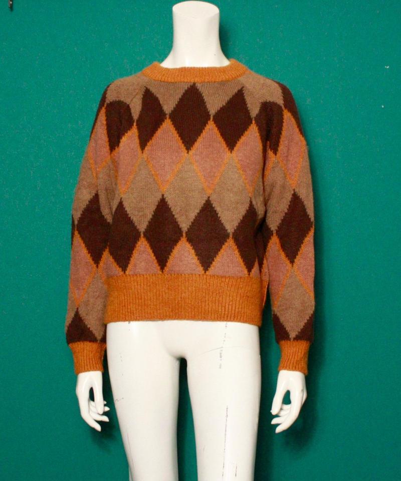 【migration】Argyle check knit sweater / mg-134 / アーガイルチェックセーター