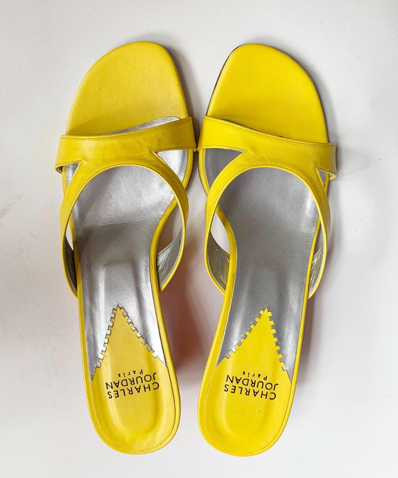【used】CHARLES JOURDAN yellow sandal / イエローミュールサンダル