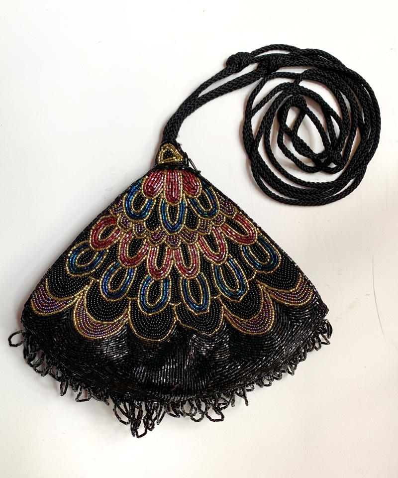 【Used】Fan-shaped design beads bag / 扇形ビーズバッグ