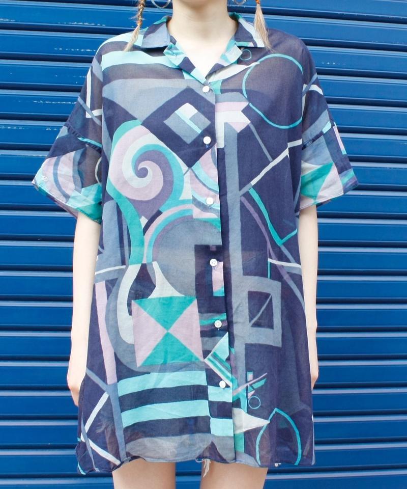 【Used】Geometric pattern oversize shirt / 幾何学模様オーバーサイズシャツ