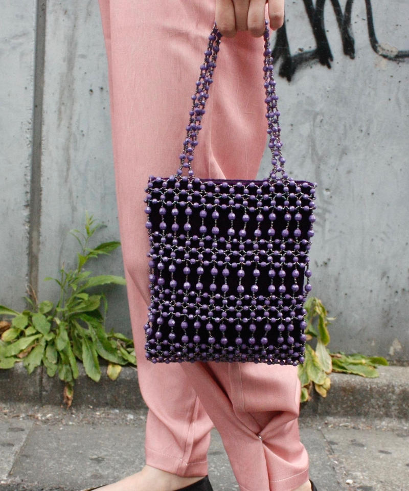 【Used Item】Purple beads hand bag / 編みビーズハンドバッグ