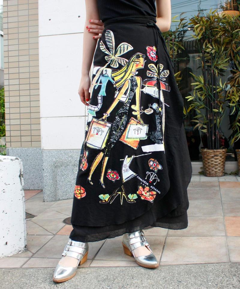 """【Used】""""AMANDA ADAMS"""" Beads wrap long skirt / 巻きスカート"""