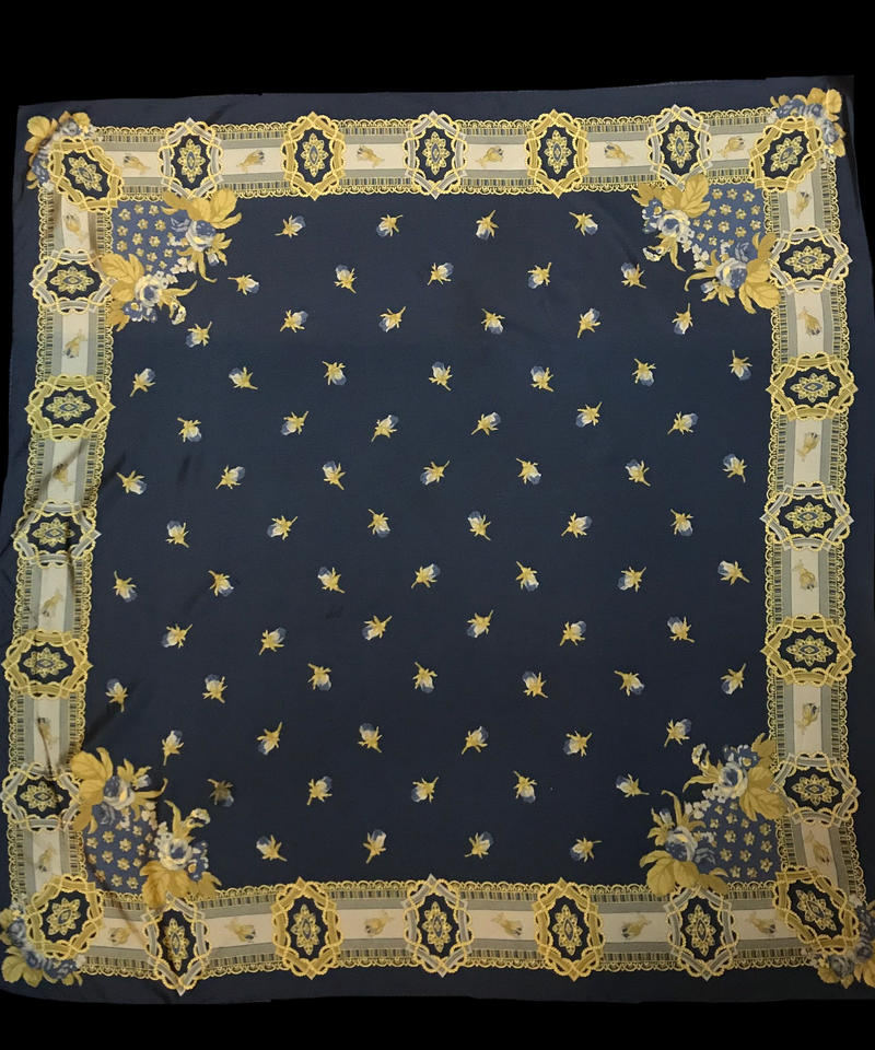 【Used】Bud patten scarf / 芽柄スカーフ紺