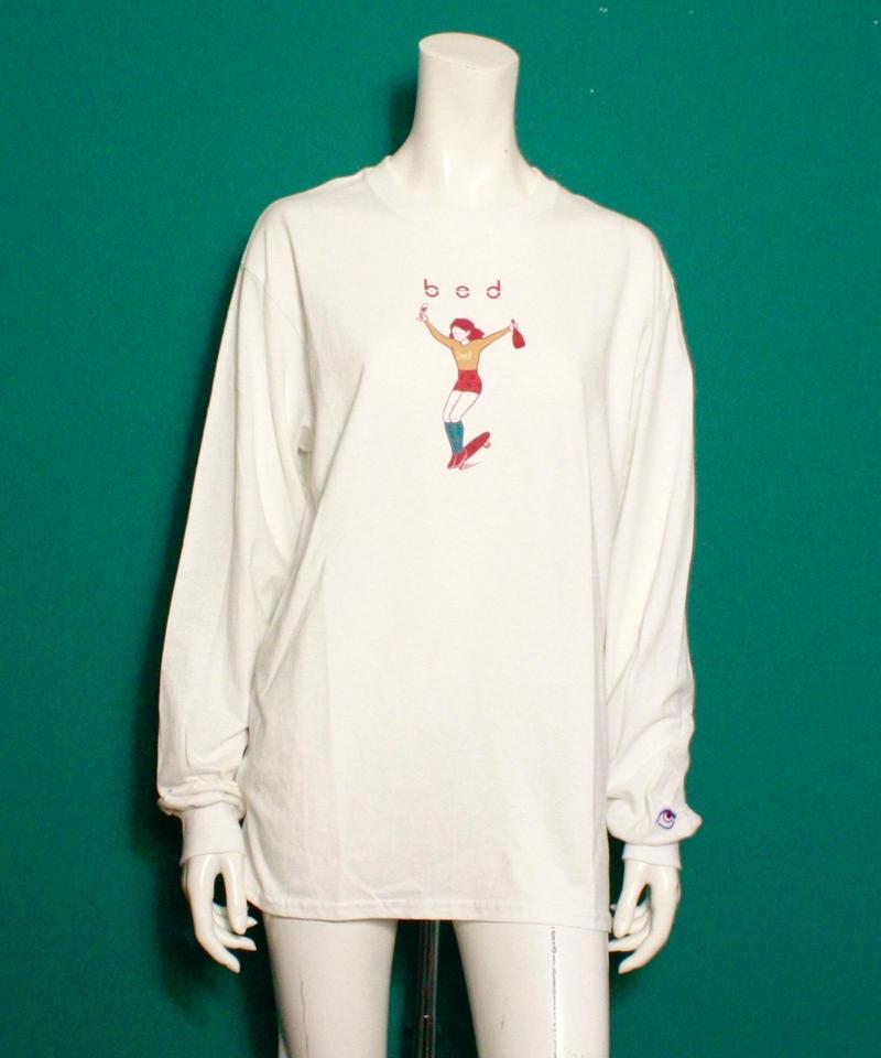 【bed】Original print long sleeve T shirt / White