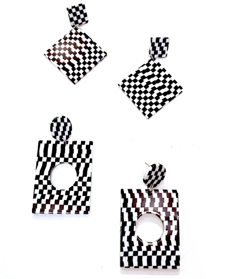 【Selected item】Square pierce/スクエアチェッカーピアス