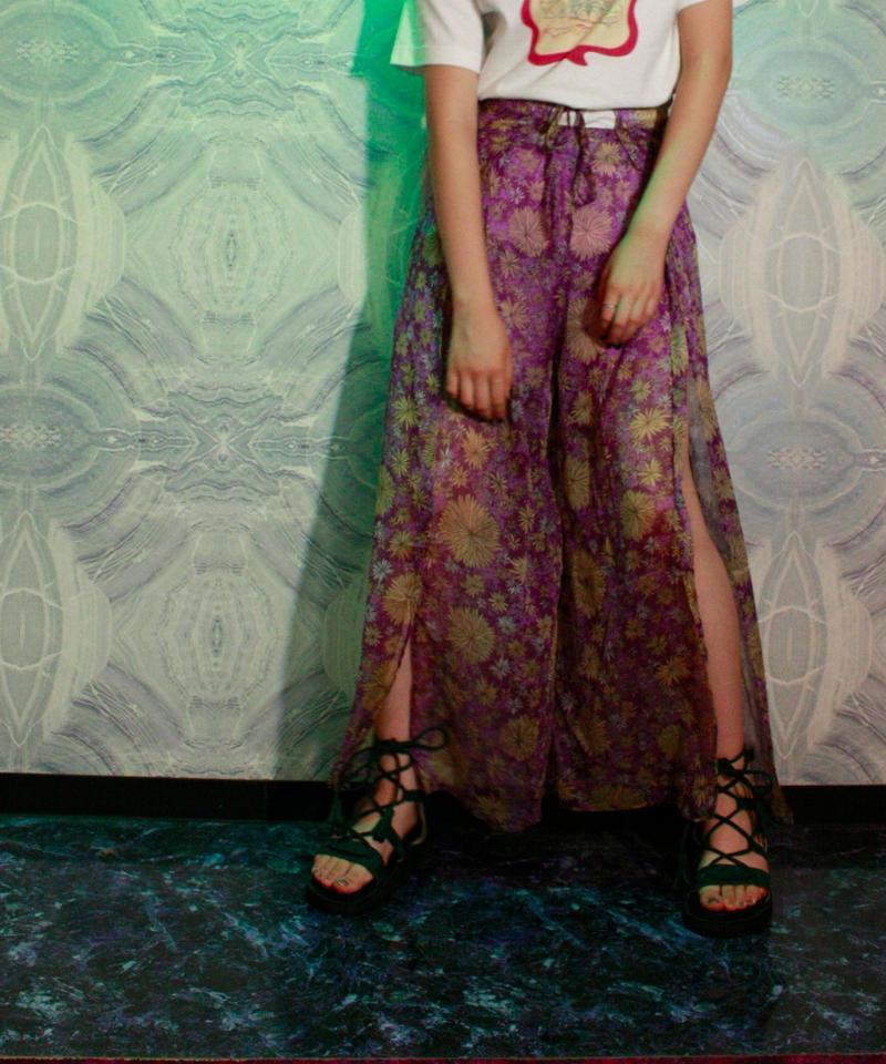 【migration】Flower Chiffon Pants / Lavender