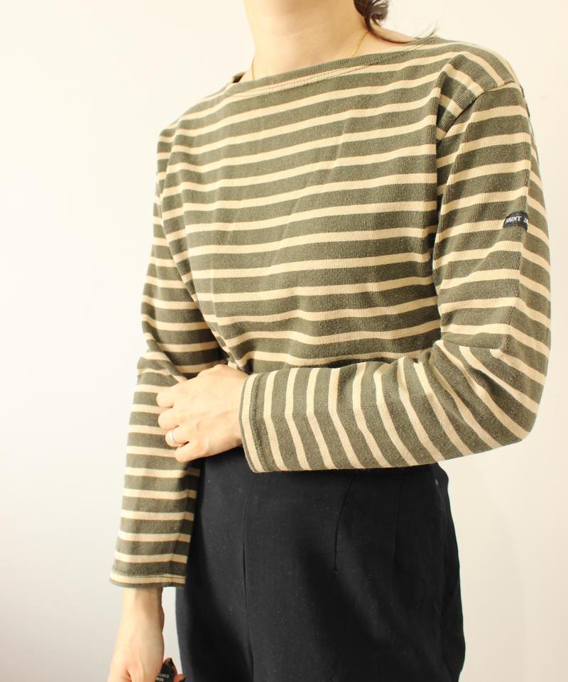 【SAINT JAMES】Basqueshirt beige×green