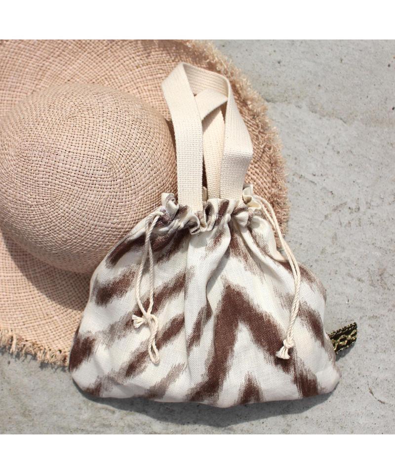Bent USA fabric Linen100% 巾着型トートバッグ
