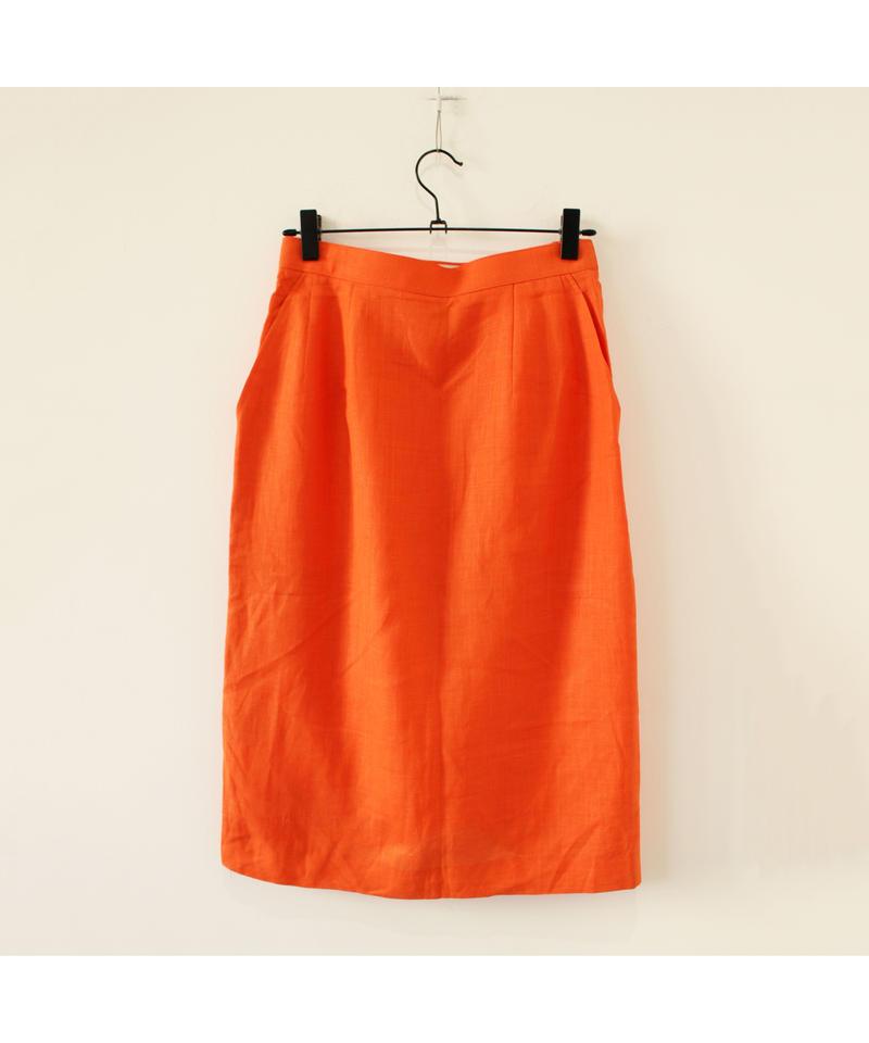 linen orange skirt