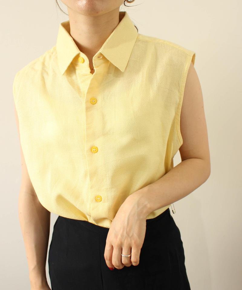 lemon yellow nosleeve shirt