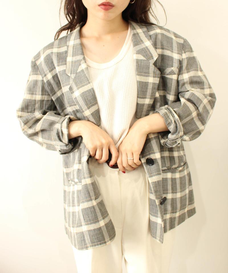 linen gray check jacket