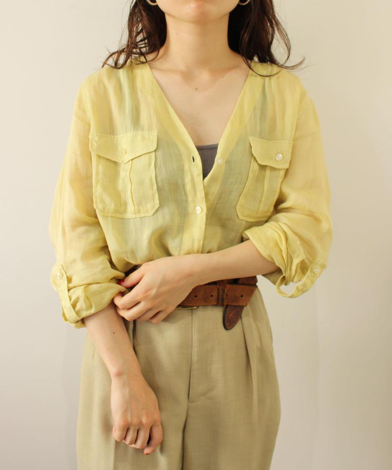 linen lime yellow nocolor  blouse