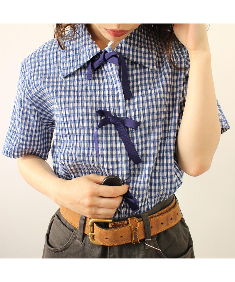 check ribbon shirt