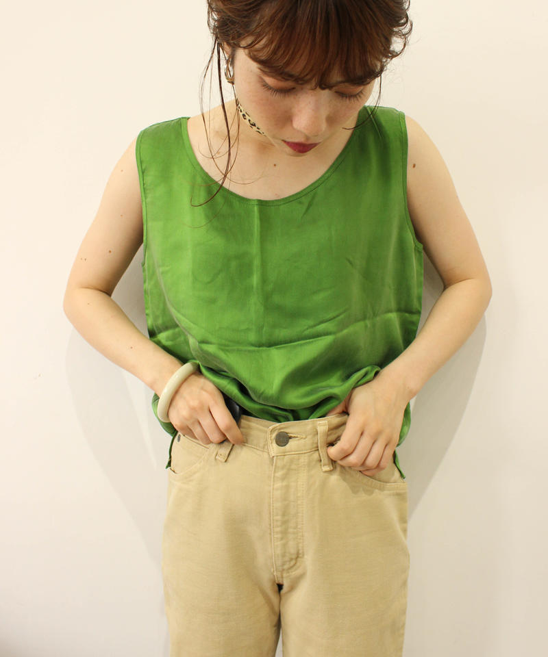 100%silk green tops