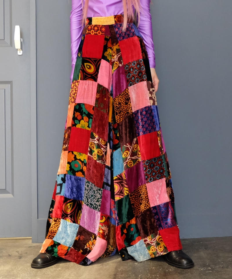 Vintage   Patchwork Wide Pants
