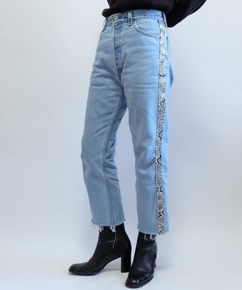 REMAKE  LEATHER LINE DENIM PANTS