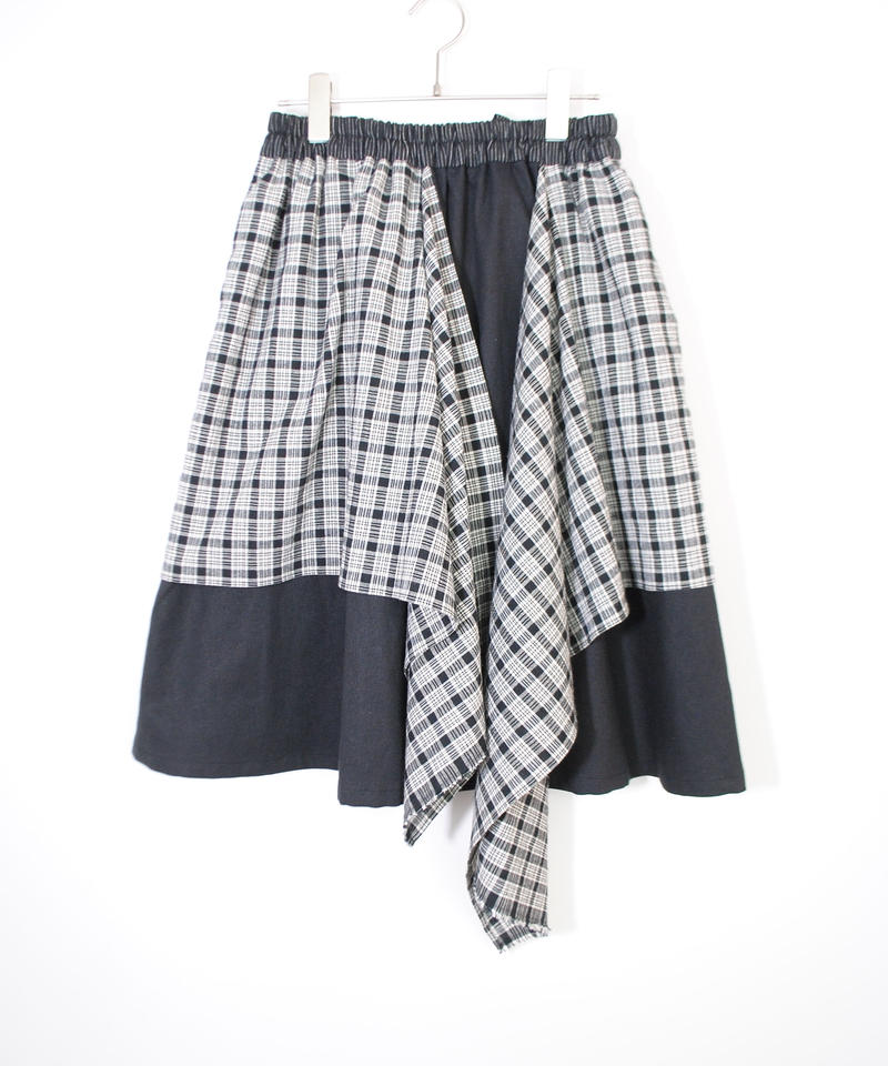 3tsui/2way check skirt( Black)