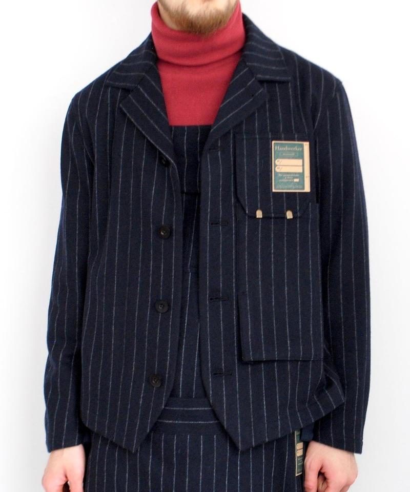 ASEEDONCLOUD Handwerkers/work jacket wool stripe(navy)