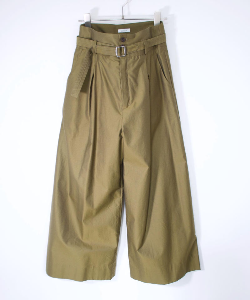 hatsutoki/cotton-gabardine wide pants(khaki)
