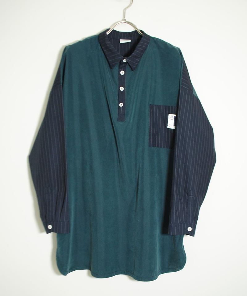 Hiroyuki Watanabe/ストライプパジャマシャツ(green×navy)