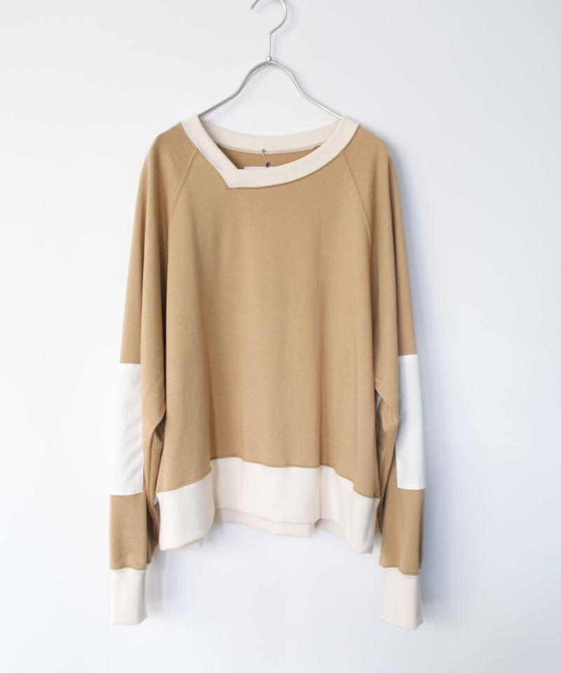 【time sale 6/25まで】ANITYA/y-neck pullover(beige/navy・SIZE 0)