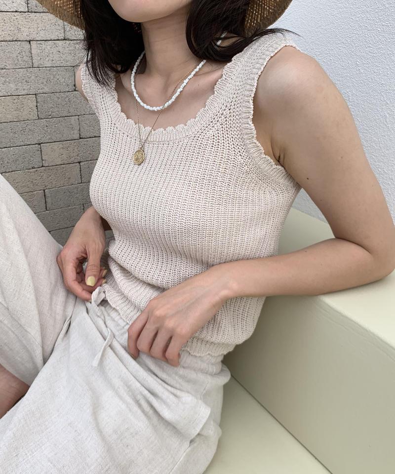 scallop knit tank