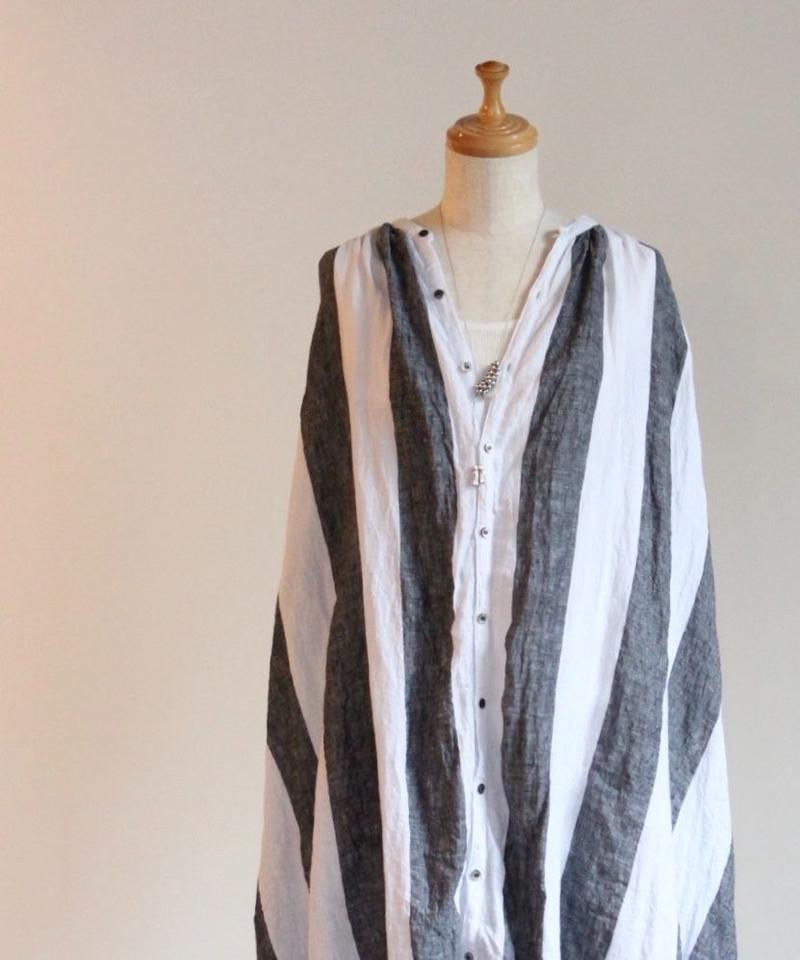 UT190SH043 ワイドストライプ ギャザーシャツドレス