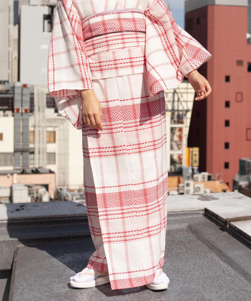 10秒着物スカート / カラミ織りチェック×レッド