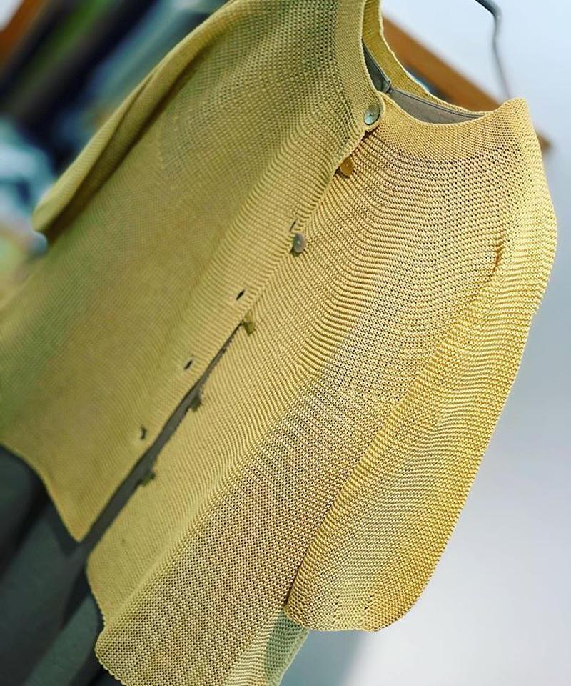 【日本製】ホールガーメントガーター編みAラインふんわりカーディ7分袖