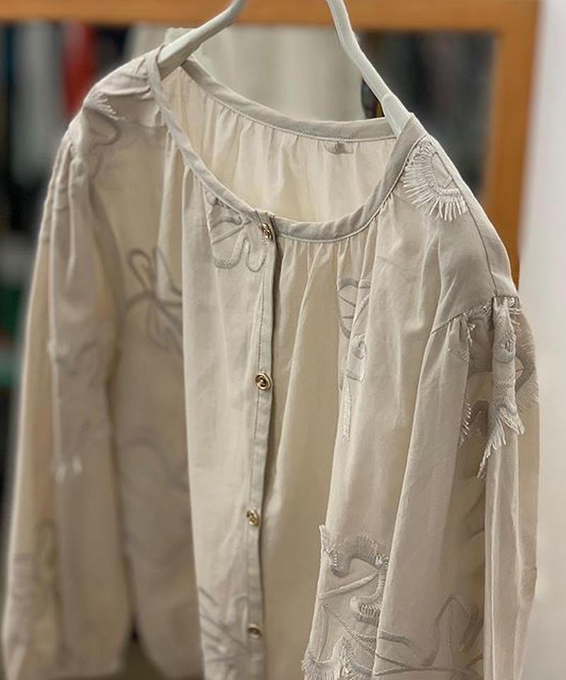綿ローンフリンジリーフ刺繍ギャザーブラウスカーディガン