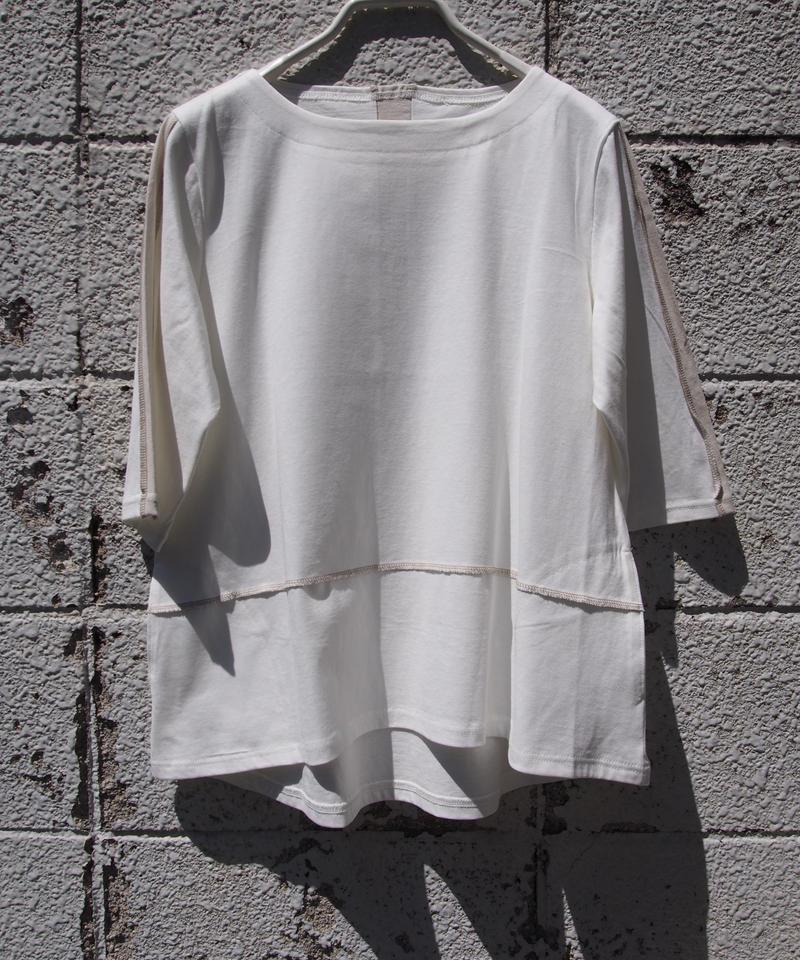 【日本製】綿100%3本針配色切替カットソー7分袖