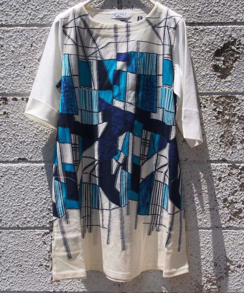 【日本製】カラーパネル幾何ジャガード6分袖チュニック