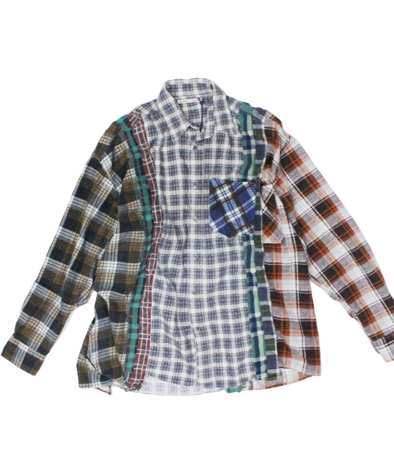 Rebuild by Needles 7 CUT Flannel Shirt WIDE - GRYCHK onesize  #1