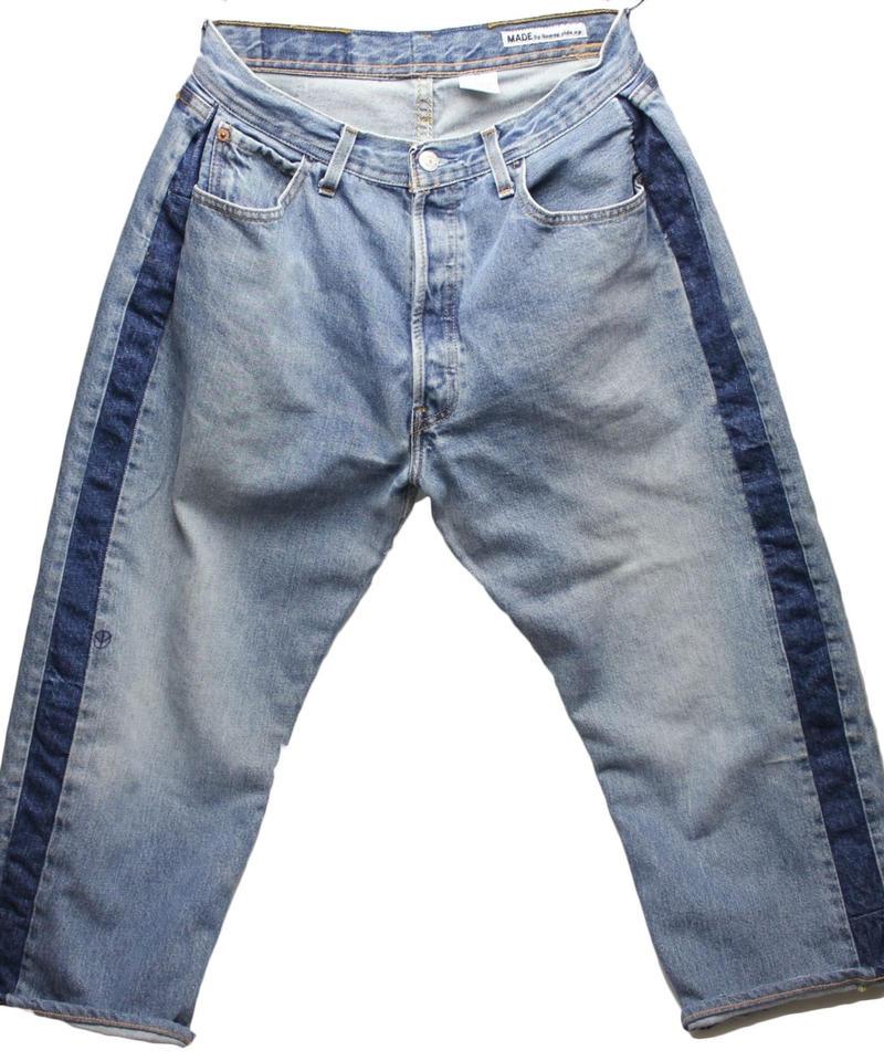 Sunny side up (サニーサイドアップ) ユーズドリメイク SIDE LINE DENIM PANTS BLUE type 1 - size 2 -