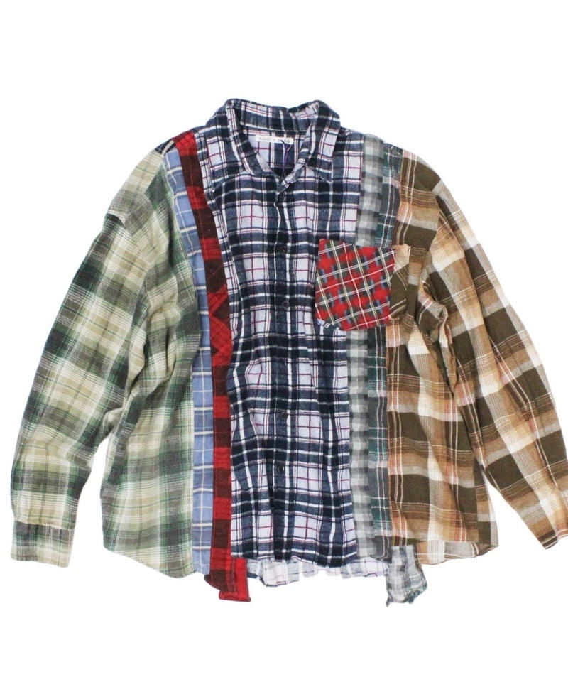 Rebuild by Needles 7 CUT Flannel Shirt WIDE - NVYCHK onesize #2