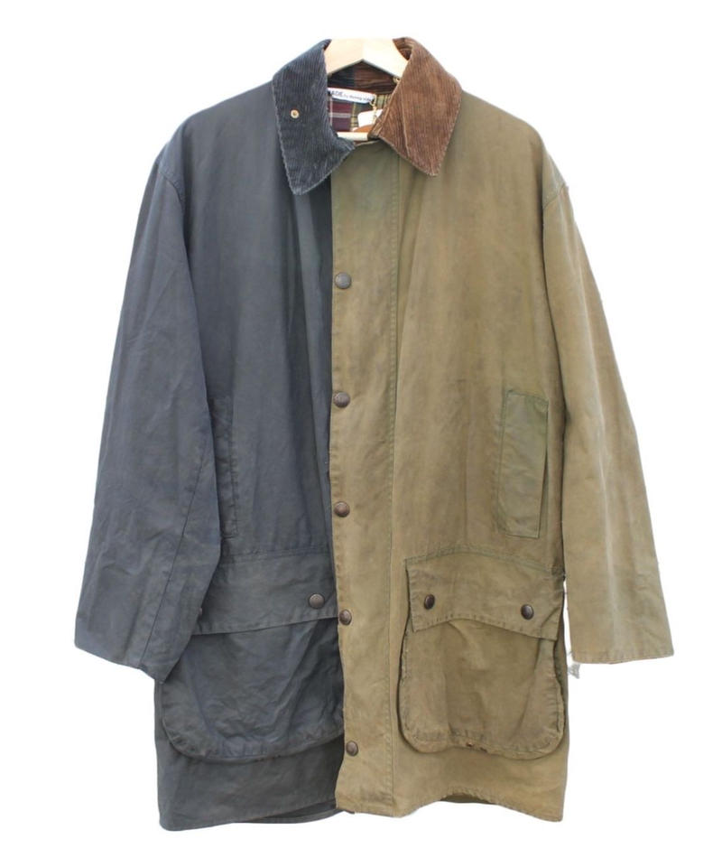 Sunny side up (サニーサイドアップ) Remake 2for1 Oiled Jacket navy×olive