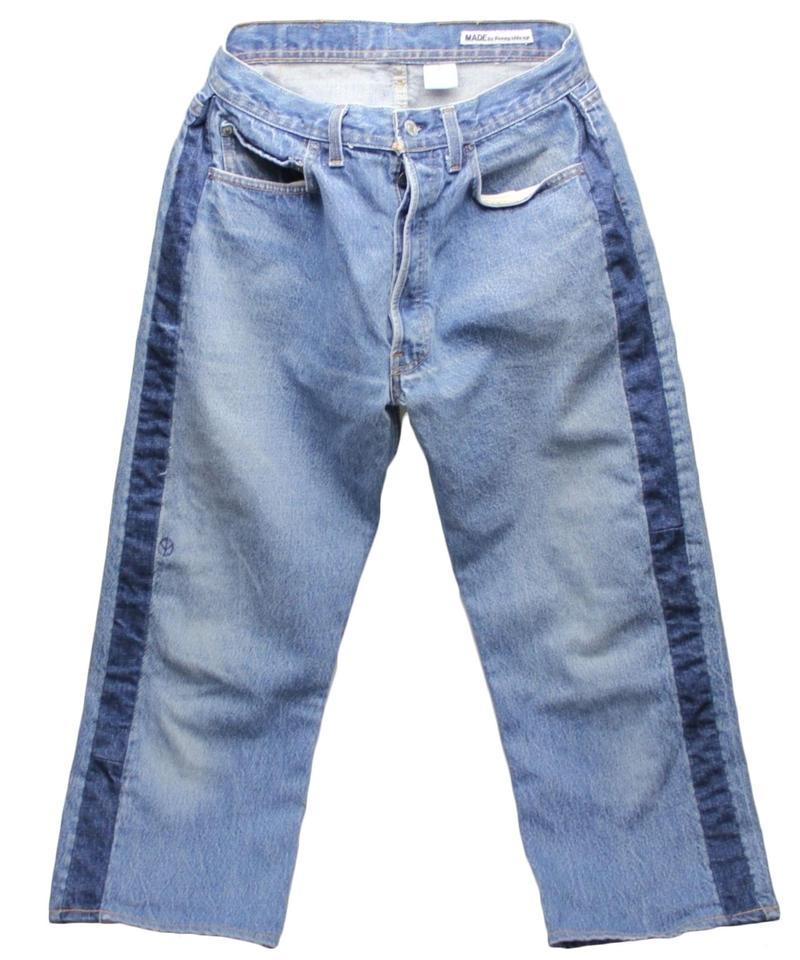 Sunny side up (サニーサイドアップ) ユーズドリメイク SIDE LINE DENIM PANTS BLUE type 2 - size 2 -
