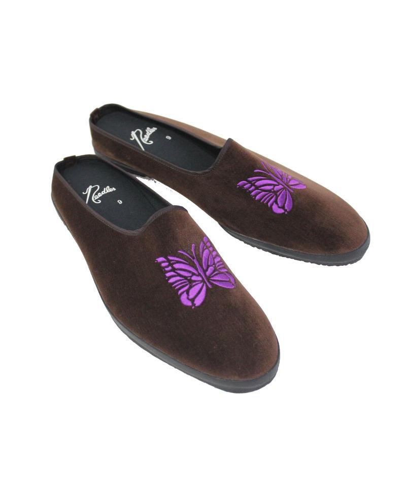 NEEDLES -  Papillon Enb Velvet Mule -Brown-