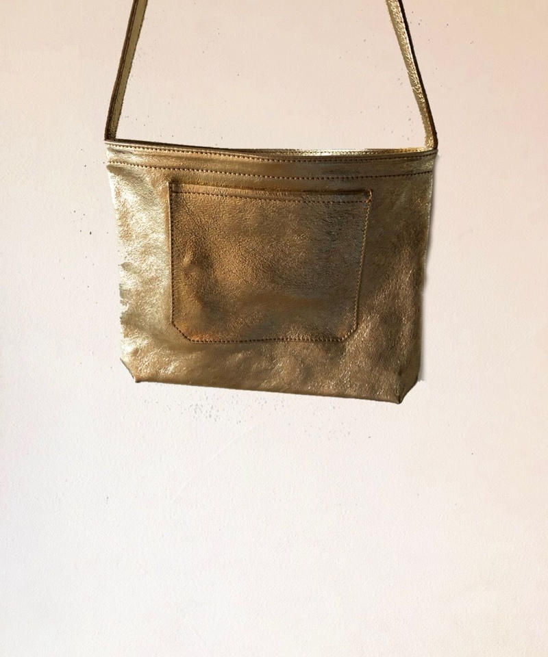 イタリアンレザー サコッシュ Gold Itarian leather pochette