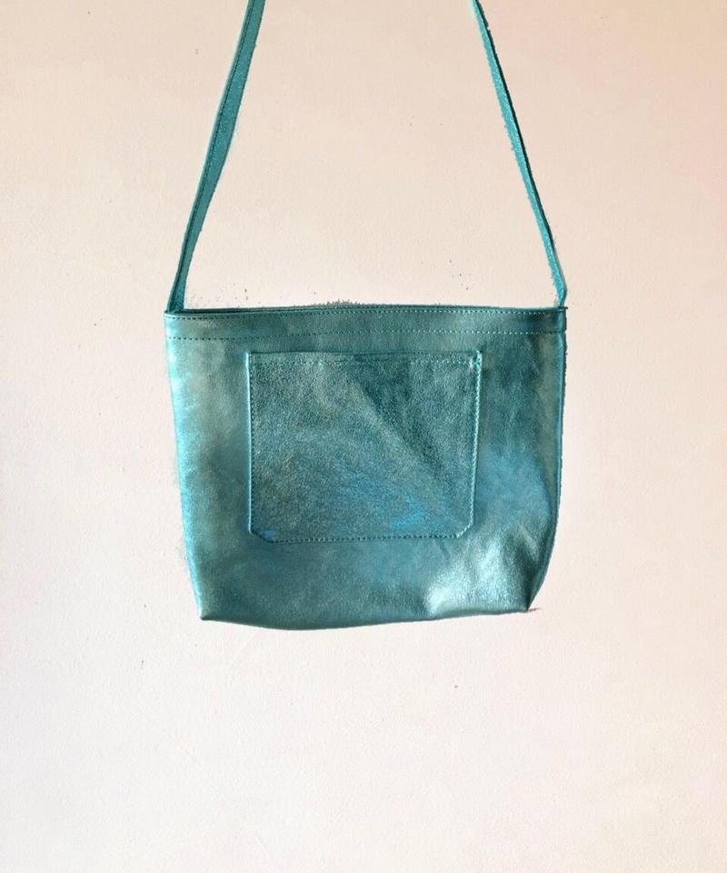 イタリアンレザー サコッシュ Horizon blue Itarian leather pochette