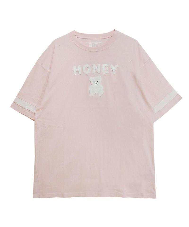 192CS0422【再入荷】<Unisex>サガラ刺繍HONEY Tシャツ