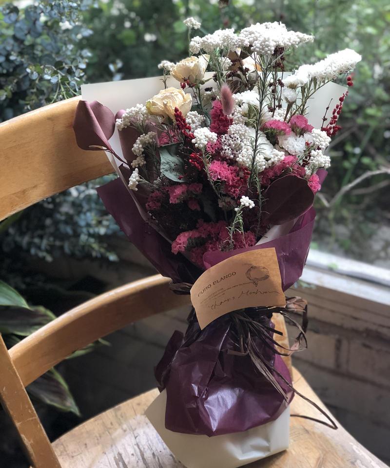 母の日ドライとプリザーブドの花束(白とルージュ)