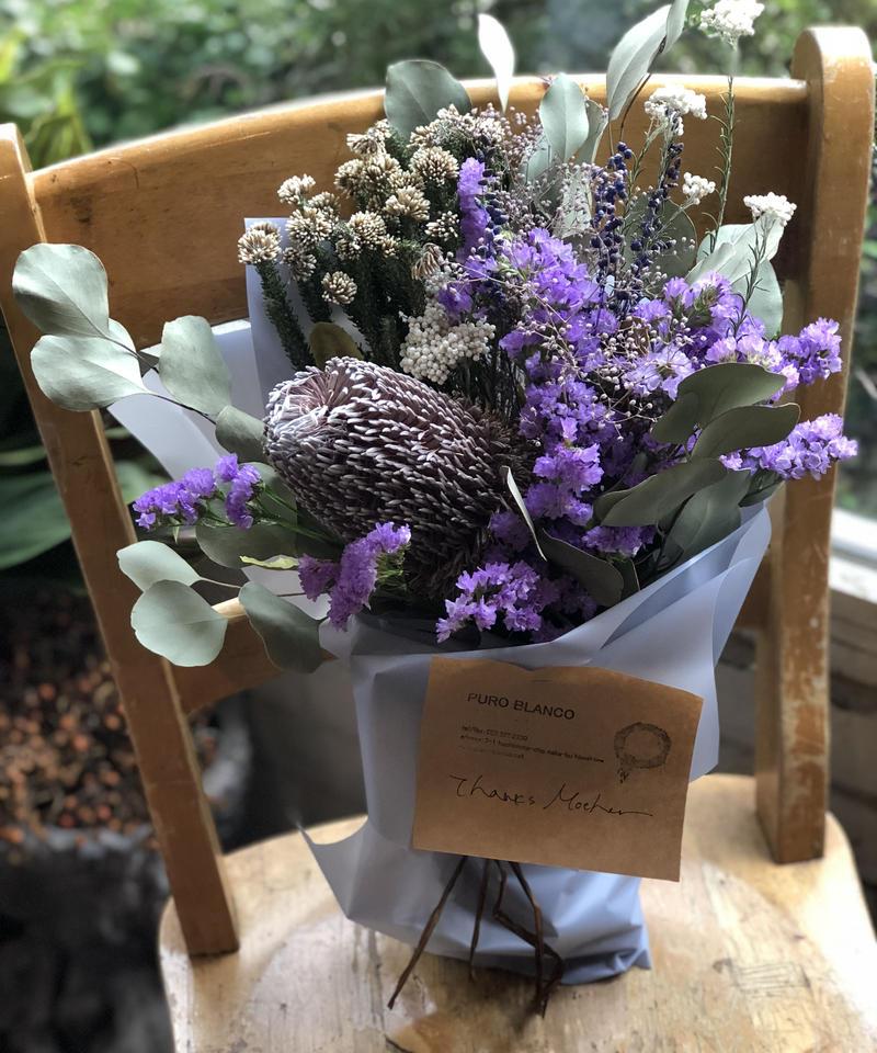 母の日ドライフラワーの花束(バンクシャと紫)