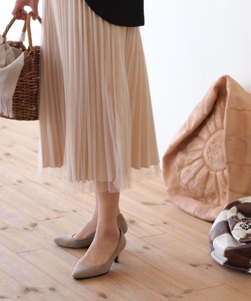 プリーツとチュールの重ねスカート