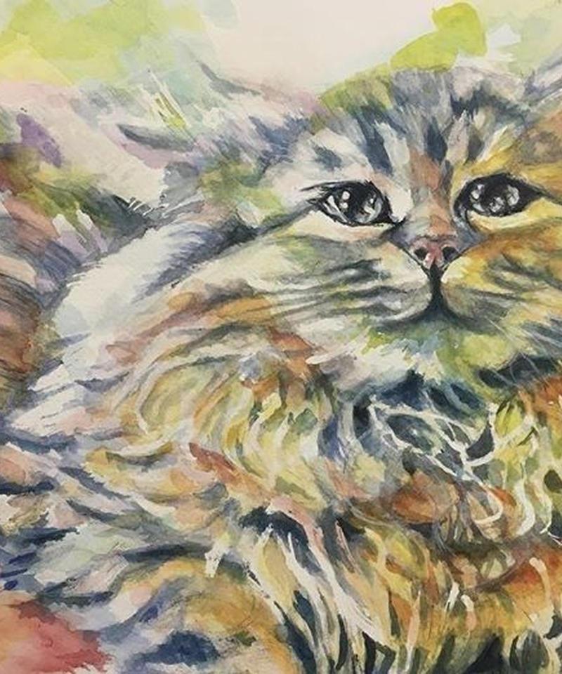 """水彩 猫 """"cat"""""""