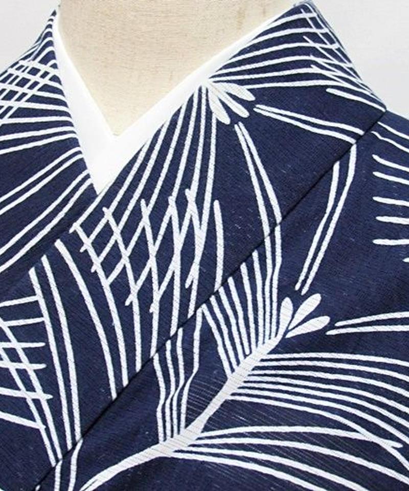 浴衣 綿絽 若松/藍 白☆146cmベスト/リサイクル/中古