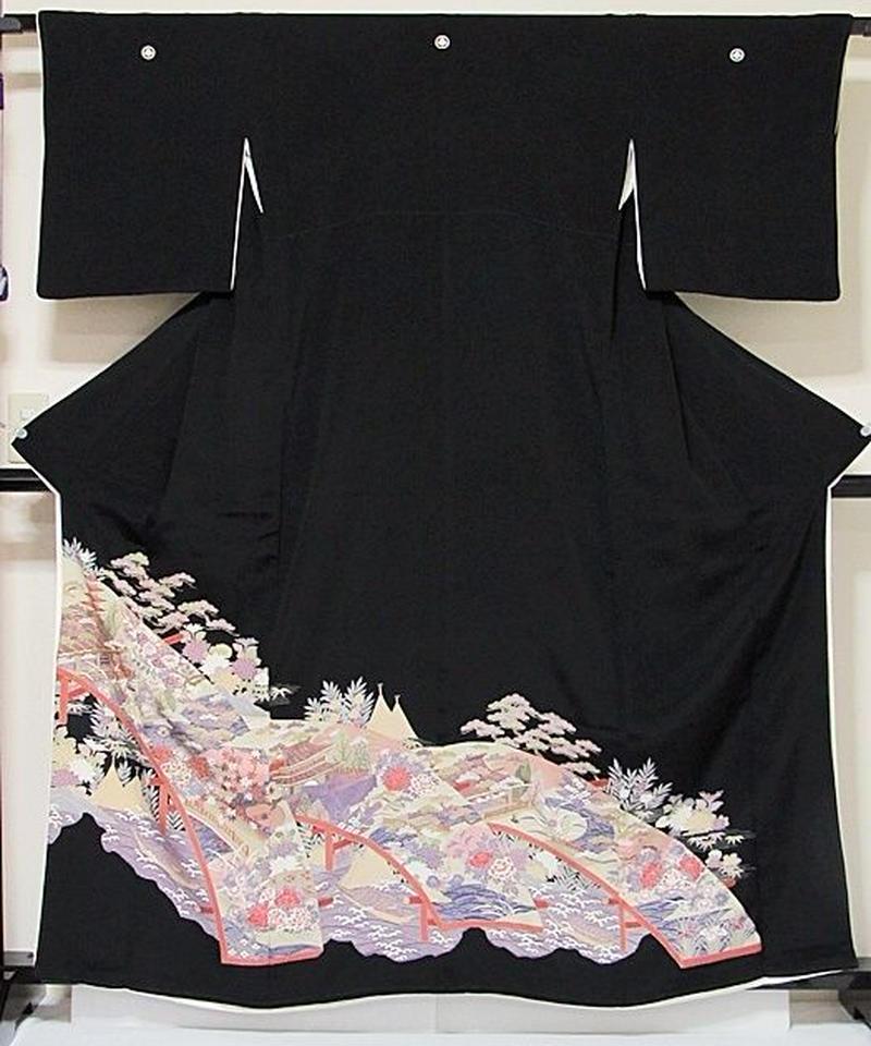 【黒留袖】正絹 比翼 一越 牡丹に太鼓橋 松に船☆161cm前後の方ベストサイズ