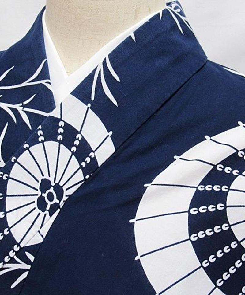 【浴衣】柳に和傘/藍 白☆148cmベスト/リサイクル/中古