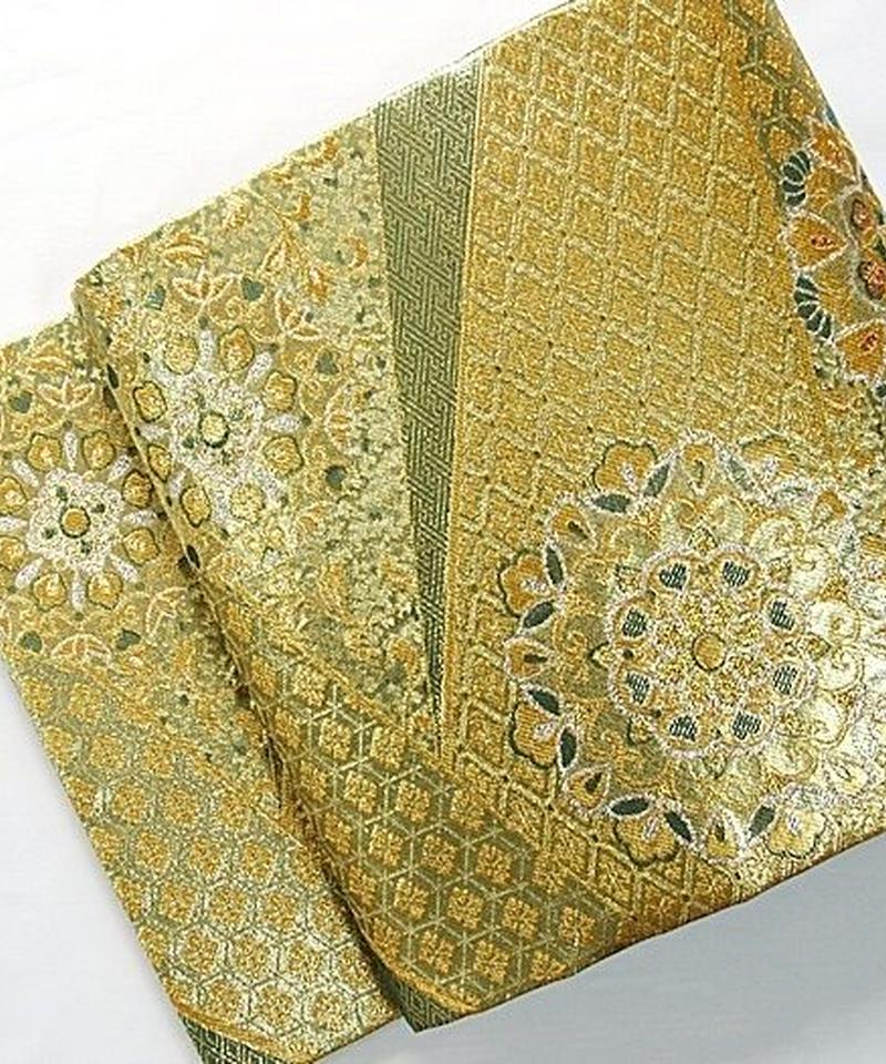 【新品 仕立上げ】錦 袋帯 正絹 寿賀多錦 九百錦/ゴールド グリーン シルバー【超美品】お薦めです