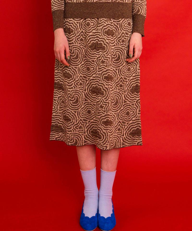 宇宙の石庭のニットスカート (brown)